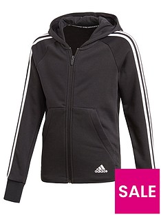 adidas-girls-3-stripe-full-zip-hoodie-black