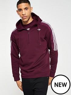 adidas Originals Radkin Half Zip Hoodie - Burgundy 6f77ee05844c