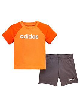 376c7d6dd7 adidas Baby Boy Linear Short & T-Shirt Set - Orange ...