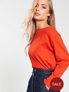 v-by-very-rib-panel-boat-neck-batwing-jumper-red-orange