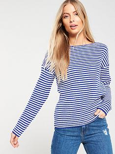 v-by-very-striped-ribbed-boat-neck-jumper-bluewhite