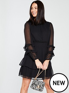 v-by-very-frill-ruched-sleeve-frill-tea-dress