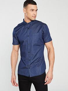 v-by-very-short-sleeved-denim-shirt-blue