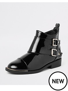 river-island-girls-black-patent-double-buckle-boots