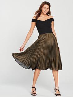 oasis-metallic-bardot-pleat-midi-dress-multi