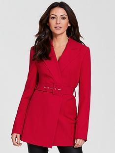 michelle-keegan-belted-longline-wrap-blazer-red