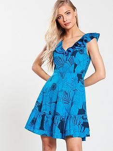 v-by-very-cotton-flippy-hem-dress-blue