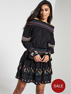 v-by-very-embroidered-bardot-ruched-waist-dress-black