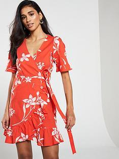 971fb7e458a441 V by Very Cotton Printed Wrap Dress