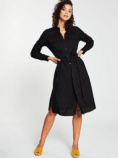 bbb477ebbc0 V by Very Linen Button Through Shirt Dress - Black