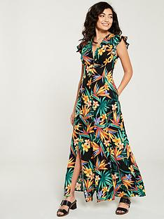 08b237a9894 V by Very Linen Button Through Maxi Dress - Tropical Print