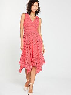 525ffcd59ea V by Very Lace Hanky Hem Dress - Coral