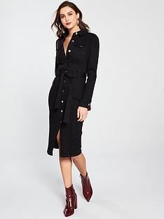 v-by-very-tie-waist-denim-dress-black