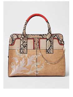 river-island-river-island-snake-print-embroidered-tote-bag--cream