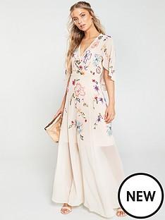 1f1244d255d1 V by Very Embellished Cape Maxi Dress - Blush