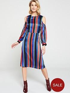 v-by-very-satin-cold-shoulder-midi-stripe