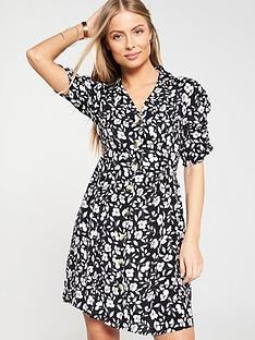 v-by-very-ruched-sleeve-floral-button-a-line-dress-blackwhite