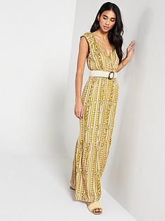 3f46ed23c930c9 V by Very Shirred Waist Aztec Maxi Dress - Print