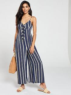 71ee0651a3 V by Very Striped Tie Front Jumpsuit - Blue Print