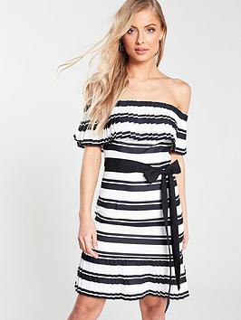v-by-very-tie-waist-bardot-dress-stripe