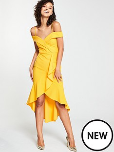 b72b67ca08e8 V by Very Wrap Ruffle Front Pencil Dress - Yellow