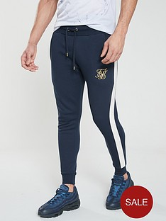 sik-silk-taped-fitted-joggers-navy
