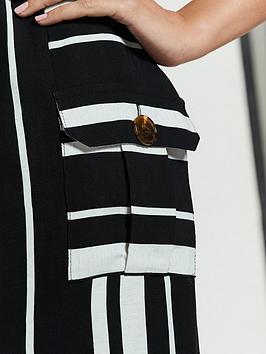 Belted Stripe Midi Dress - Mono Stripe