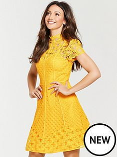 michelle-keegan-high-neck-skater-dress-yellow