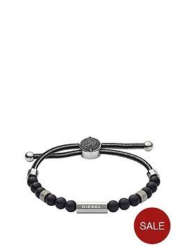 diesel-diesel-grey-cord-black-bead-and-stainless-steel-slider-mens-wristwear