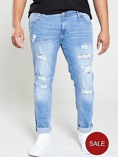 9bf06d1a Jack & Jones Plus Rip & Repair Skinny Fit Liam Jeans - Blue