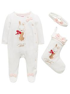 edf8a7ddb Baker by Ted Baker Baby Girls Bunny Velour Sleepsuit   Stocking Set