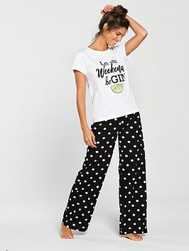 v-by-very-gin-slogan-pyjama-set-monochromenbsp
