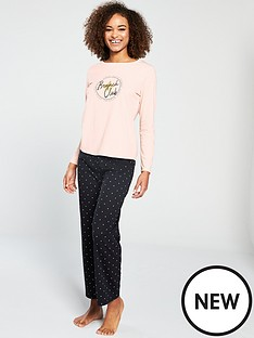 26e17a58f2 V by Very Brunch Long Sleeve Pyjama Set - Peach Black