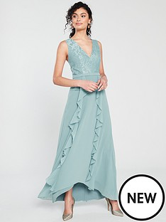 little-mistress-little-mistress-frill-detail-chiffon-lace-maxi-dress