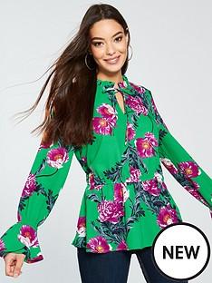 vero-moda-vero-moda-high-neck-long-sleeve-green-floral-top