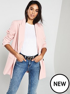 ff18e0c70925 V by Very Double Breasted Textured Blazer - Blush