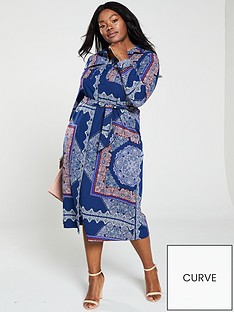 79544bfa068 V by Very Curve Printed Belt Shirt Maxi Dress - Navy