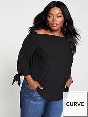 f589727f0c796f V by Very Curve Jersey Crepe Long Sleeve Bardot Top - Black
