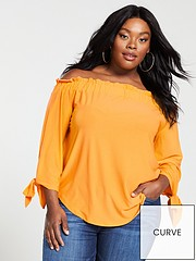 c45b105f8463f5 V by Very Curve Jersey Crepe Long Sleeve Bardot Top - Marigold