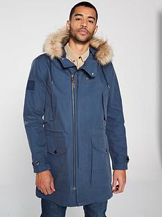 e385a66c90b Pretty Green Fur Trim Hooded Parka - Mid Blue
