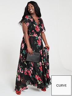V by Very Curve Ruffle Printed Maxi Dress - Print e0b233ce6