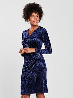 wallis-velvet-wrap-dress-navynbsp
