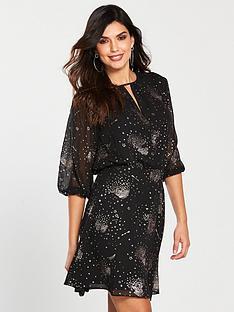 warehouse-sparkle-star-dress-black