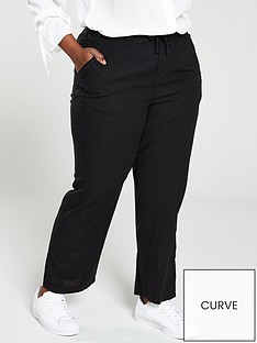 6a8f66b57 V by Very Curve Linen Mix Drawcord Trousers - Black