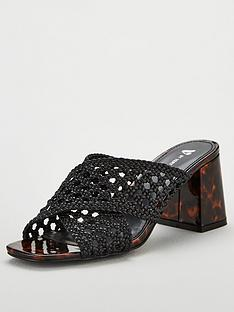 7fb3104bbe1 V by Very Gia Cross Strap Weave Low Block Mule Sandals - Black