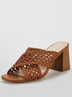 f9541e25e9a V by Very Gia Cross Strap weave low block mule sandal