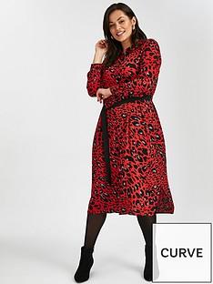 evans-red-leopard-print-midi-shirt-dress