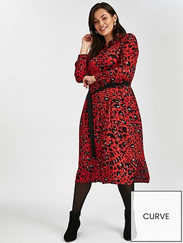 80671484f3 Evans Red Leopard Print Midi Shirt Dress