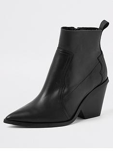 ff608f5e8ba4 River Island River Island Premium Leather Western Boots- Black