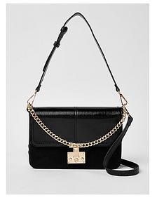 river-island-river-island-lock-front-shoulder-bag--black
